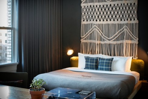 The Resurgence of Macrame. ~ macramé piece by Sally England at the Ace Hotel in Portland, Ore. Dina Avila for The Wall Street Journal