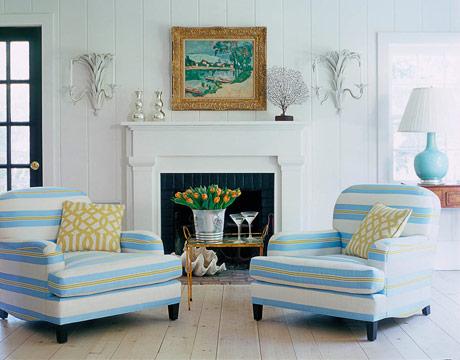 Steven Gambrel designed chairs covered in CJ Dellatore's Snow in Sky Chartreuse