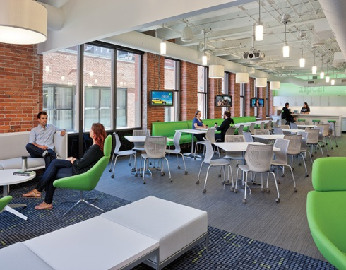 The lobby of Zipcar in Boston.  Photo Credit: Warren Patterson Photography